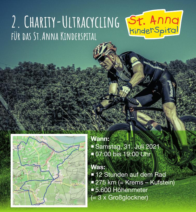 2. Charity Ultracycling 2021 für das St. Anna Kinderspital.